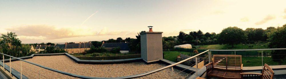 Toit terrasse gravillonnée sur étanchéité EPDM et couverture zinc St Jacques